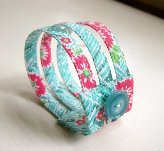 Triple strand cuff bracelet in retro red and aqua floral