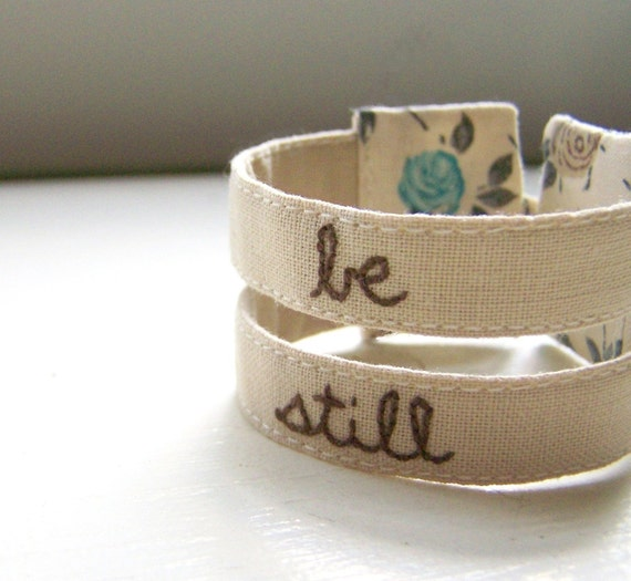 Double strand embroidered cuff bracelet - be still - MADE TO ORDER