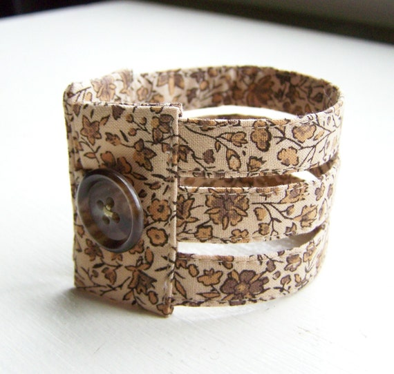 Fabric cuff bracelet in coffee and cream floral triple strand