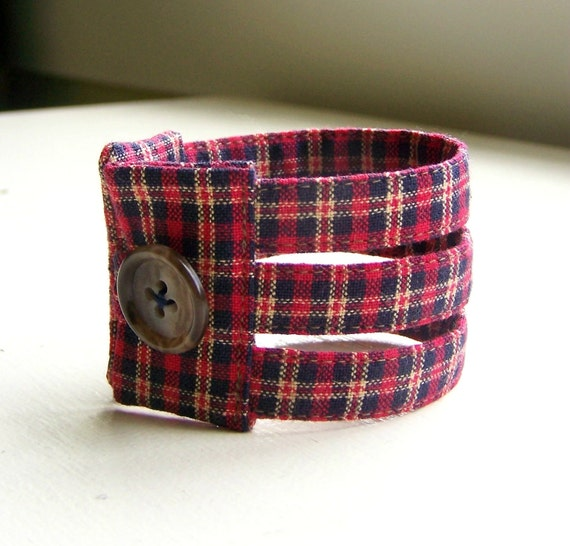 RESERVED for Amanda Fabric cuff bracelet in red and blue autumn winter plaid