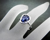 1.92 Carat Natural Rose cut blue sapphire set in a STERLING SILVER ring 0967