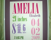 Baby Girl Birth Stats Printable Subway Art. Timeless Design