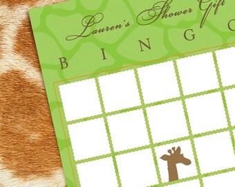 Giraffe Baby Shower Bingo Game Card