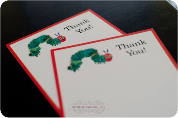 The Very Hungry Caterpillar Thank You Notes - Set of 10 with envelopes