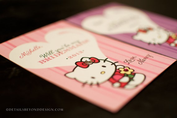 Hello Kitty - Will You Be My Bridesmaid / Flower Girl Card