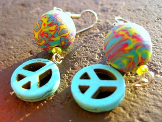 1960's Hippie Nostalgia Tie Dye Peace Earrings