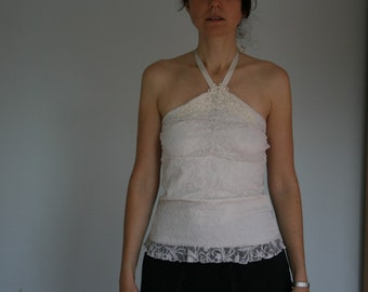 90s White Sheer Lace Top Halter Top Embroidered Bodycon Small Medium