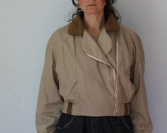 80s Bomber Jacket Khaki Canvas Biker Jacket Women's Asymmetric M Medium