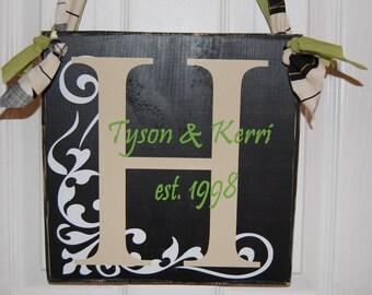 Personalized Wood Family Est. Plaque...You Choose Colors