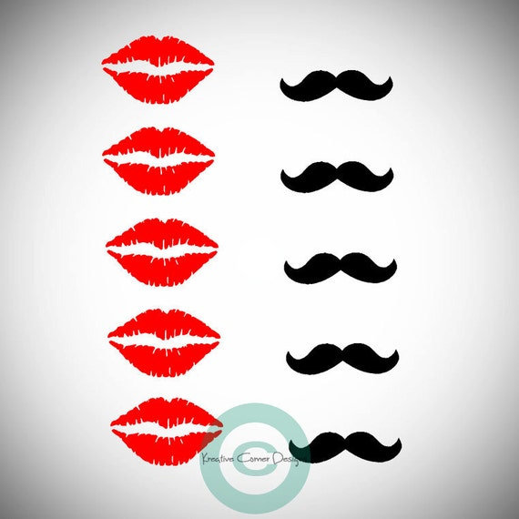 Mustaches and Lips Set of 10 Vinyl Decal