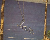 SALE Written in the Sand - Wire Love Necklace - Only 2 left