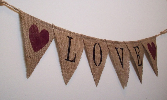 Burlap Banner - Love - Proceeds will be donated to Relief Efforts in Japan