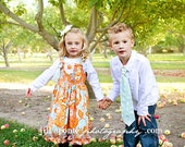 Brother and Sister Matching Set- Girl's Knot Dress and Boy's Necktie- Orange and Blue