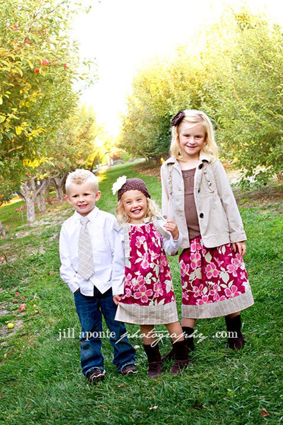 Brother and Sisters Matching Combo - Boys Necktie and Girls Pillowcase Dress OR Long Skirt - pink and khaki colors