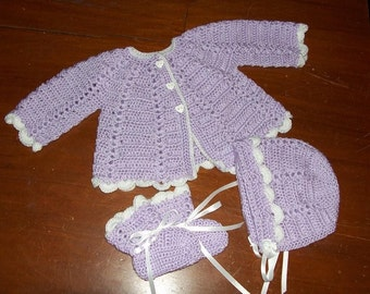 Crocheted 3 Piece Infant Sweater Set