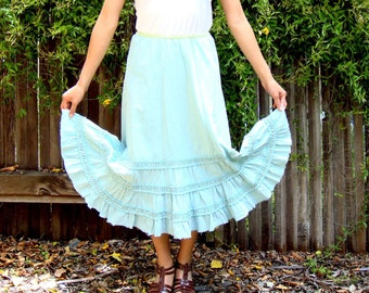 Aqua ruffled tiered skirt with lime green trim ( Sz S / M )