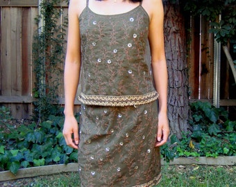 OLIVE embroidered silk tank and skirt w COFFEE and GOLD stitching & beading ( Sz M )
