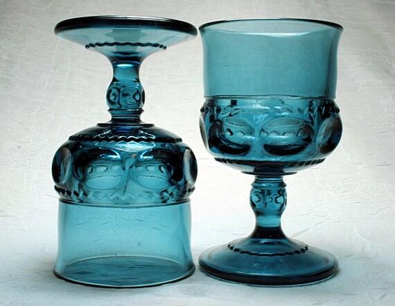 Set of 8 King's Crown Goblets - Blue