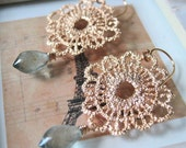 Gold Round Lace Filigree w/ Moss Aquamarine earrings