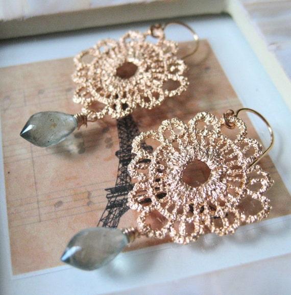 Gold Round Lace Filigree w/ Moss Aquamarine earrings