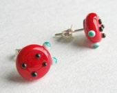 Red Baby Ladybug Lampwork Glass Bead Earrings for little girls. Stud Posts