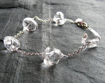 Crystal Bracelet . Adjustable Ice Crystal Bracelet in Sterling Silver. Clear Crystal Quartz Bracelet. Wedding bracelet.