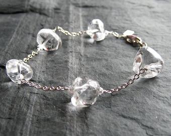 Crystal Bracelet . Adjustable Ice Crystal Bracelet in Sterling Silver. Clear Crystal Quartz Bracelet. Wedding bracelet.