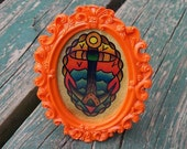 Miniature watercolor framed Anchor, Limited edition. Tattoo inspired. Super Old School. YART.