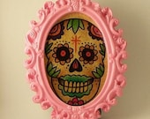Miniature watercolor framed Sugar Skull, Limited edition. Tattoo inspired. Old School.