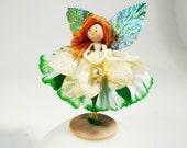 Irish Fairy, Flower doll, Fairy Miniature, Gold and Green Angel