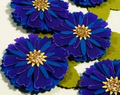 Peacock Wedding Paper Flower Embellishments Blue Purple Gold Scrapbooking Card Making