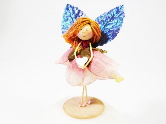 Pink Heart Gift, Fairy Rose Doll, Sweet Girl Keepsake