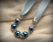 Deep Blue Glass Pearls and Silvery Grey Satin Ribbon necklace with flower caps