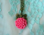 Hot Pink Mum Cabochon with Antique Brass Bow Pendant - Necklace