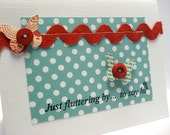 Handmade Card Teal Butterfly And Red Hello Greeting