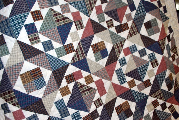 "Twin size quilt, masculine design, ""Plaids"" 56 by 72"