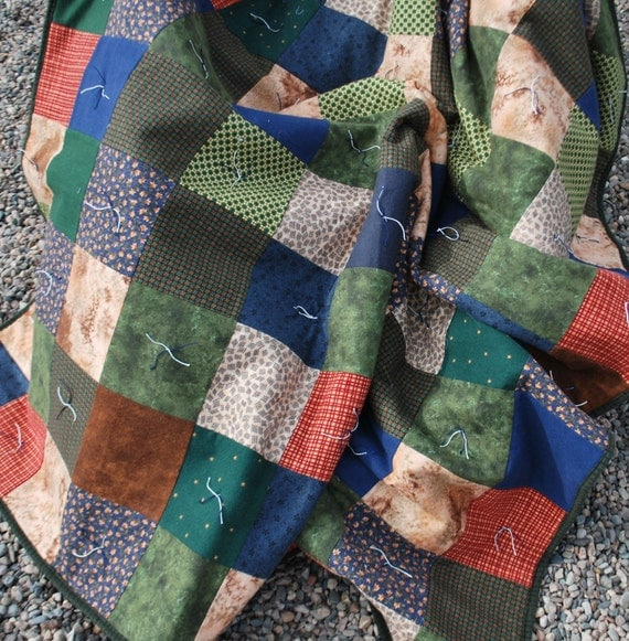 Flannel Twin Sized Quilt Picnic Blanket Flannel patchwork and Denim 50 by 70