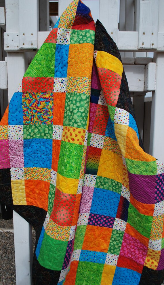 Twin Patchwork Quilt, Crazy Happy Fun, 50 by 75