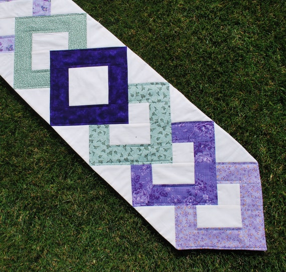 Quilted Table Runner purple green cream Pretty Posy  11 by 64