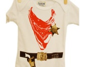 Cowboy Baby Onesie with Sheriff Badge and Six Shooter Belt-LONG sleeve- SIZE 0-3 MONTH