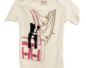 Gold Necklace, Pink Purse with Boston Terrier Dog Baby Onesie 6-12 month