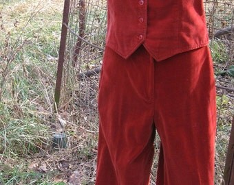 Rust Velvet Stove Pipe Trouser with Matching Vest