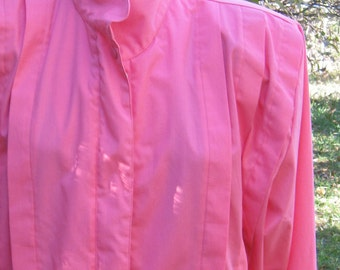 PINK 1980s Jacket. Shoulder Pad, Pleats in the Front. UNISEX
