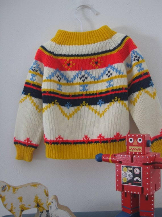 Vintage Nordic Sweater in Bright Colors 12-24 M