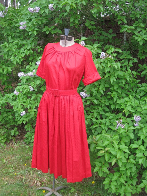 RESERVED FOR Rebekah-Leigh   Beautiful Lipstick Red Polished Cotton Dress from the 1950s