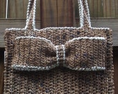 Crochet Pattern .....Everyday Plarn Handbag with decorative bow ...  use as a book bag, diaper bag, lunch bag, craft bag......