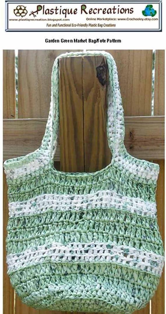 Crochet Plarn Tote Bag Pattern : Plarn Garden Green Plarn Market Bag/Tote crochet pattern