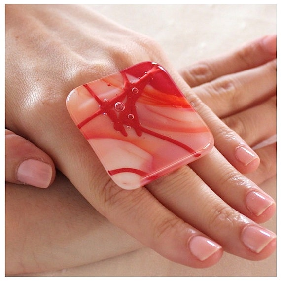 Glass Cocktail Ring - big bold handmade - TURNING HEADS RED - 1.8 inch