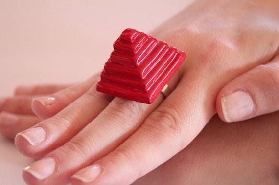 Pyramid Ring Ceramic  - big oversize bold handmade Cocktail Ring - RED PYRAMID- 0.9 inch