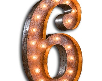 """SALE - Marquee Light Number 6 - RUSTY - 24"""" Vintage Marquee Lights-The Original!"""